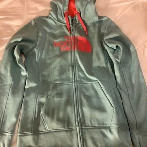 The North Face Blue and Pink Zip Up Hoodie